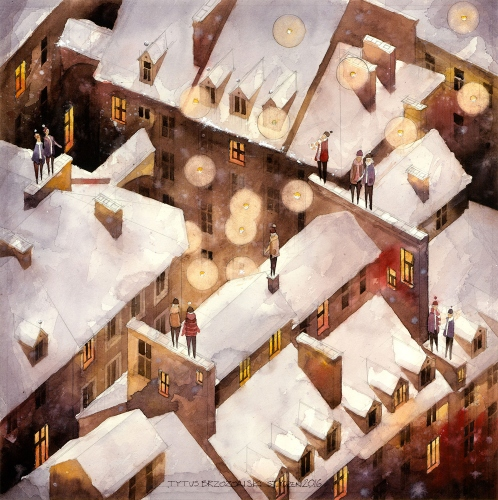 Tytus Brzozowski - Winter rooftops of the Old Town