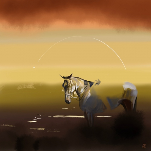 Laura La Wasilewska - Comet and horse