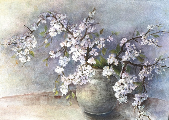 Bożena Czerska - Blossoming branches of a shrub