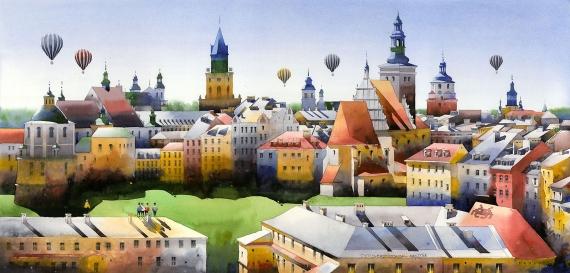 Tytus Brzozowski - Panorama Lublina z farą