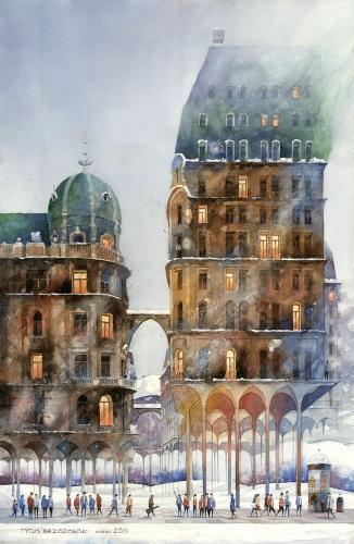 Tytus Brzozowski - Stadt - Wiesen Winter.