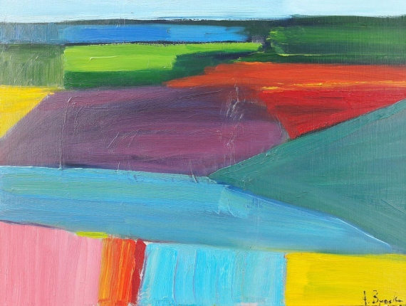 Anna Brzeska -  Landscape with a turquoise triangle