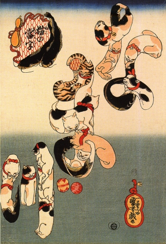 Utagawa Kuniyoshi: Cats forming the characters for catfish