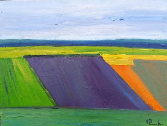 Anna Brzeska - Landscape with purple trapezoid