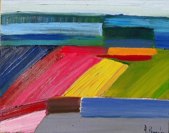 Anna Brzeska -  Landscape with an orange rectangle