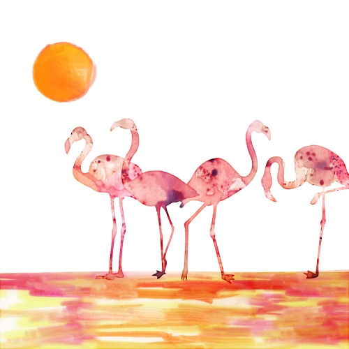 Chintami Ricci - The Wading Flamingos