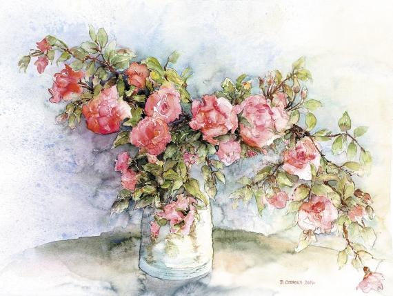 Bożena Czerska - Twigs of roses in a vase