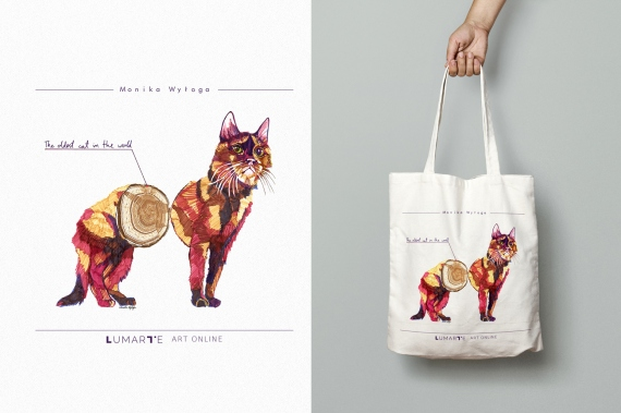 Monika Wyłoga - Cotton bag 'The oldest cat'