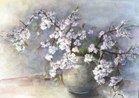 Kwitnące gałązki krzewu - Bożena Czerska