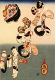 Utagawa Kuniyoshi: Koty tworzące napis Sum