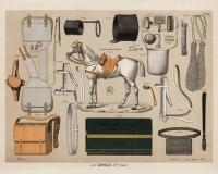 Pferd mit antiker Reitausrüstung