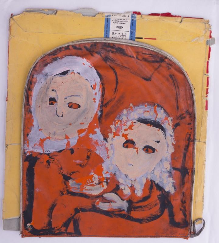 Maria Wnęk, bez tytułu, malarstwo na torbie z tworzywa sztucznego