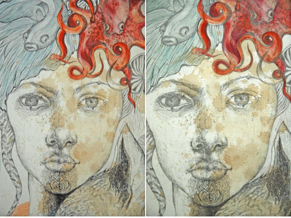 Justyna Stoszek, Dziewczyna, fragment (od lewej: wydruk Giclee, rysunek)
